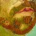 van Gogh, Self-Portrait Dedicated to Paul Gauguin, detail of mouth