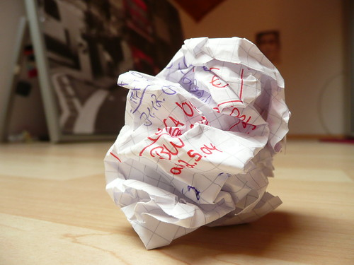 crushed paper - writer's block - crumpled paper with unfocused background | by photosteve101