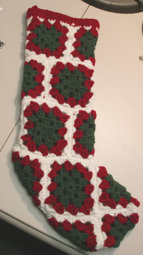 Free Crochet Pattern For Granny Square Christmas Stocking : Granny Square Christmas Stocking Pattern is here ...