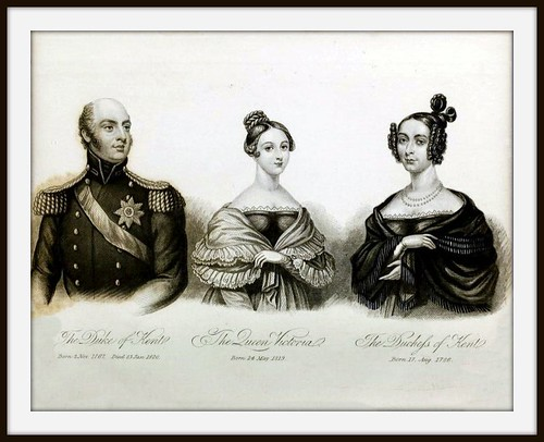 Duchess Of Kent >> Engraving of 1838 showing Queen Victoria with her parents, the Duke & Duchess of Kent (the Duke ...