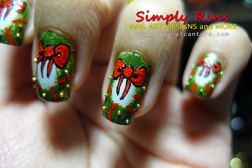 Christmas 3d Nail Art With Ring: Christmas Nail Art Wreath 06