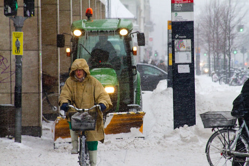 Snowstorm Ploughing - Winter Cycling in Copenhagen | by Mikael Colville-Andersen