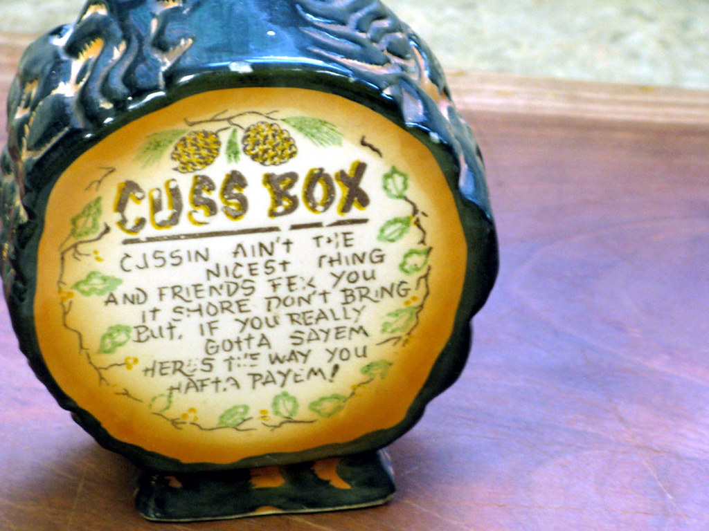 Vintage Ceramic Swear Jar Or Cuss Box Coin Bank With Appal
