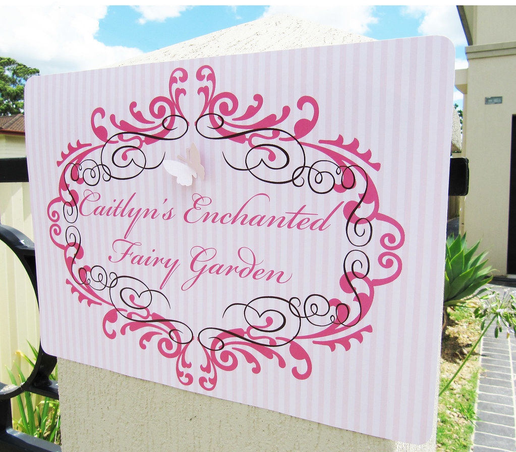 Caitlyn's Enchanted Fairy Garden Welcome Sign