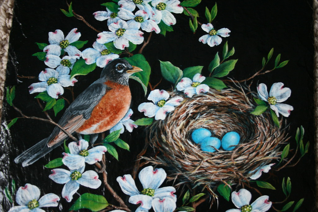 robin with nest in dogwood tree painting 10 x 14 inches