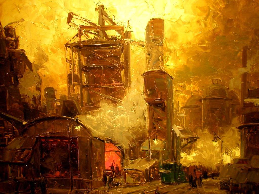 Erich Mercker 'Evening at the Blast Furnace', ca. 1920s, T ...