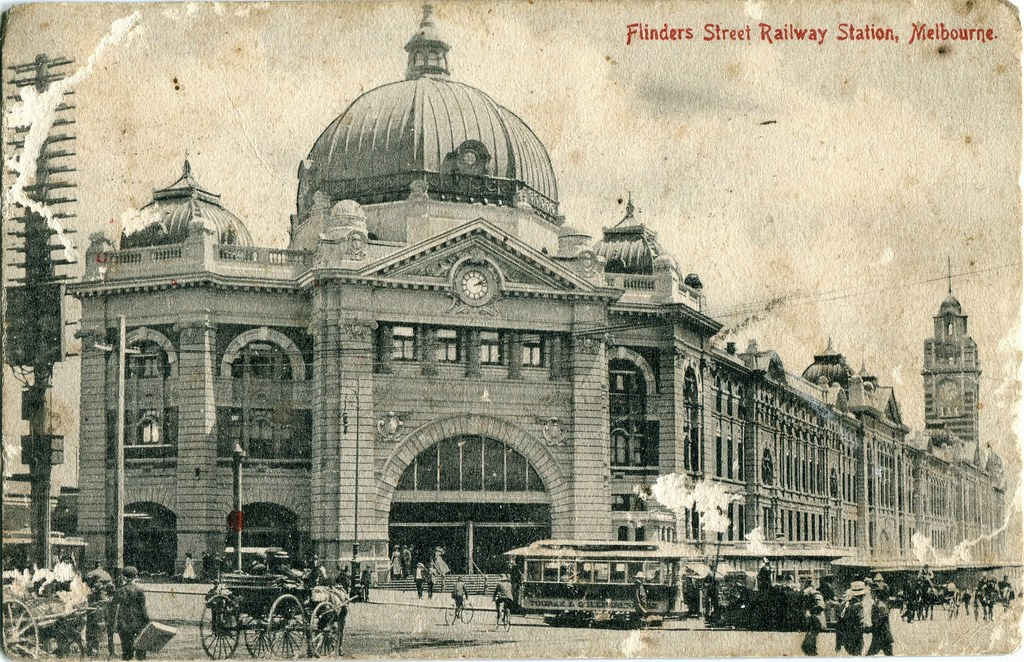 flinders street railway station melbourne 1909 1910. Black Bedroom Furniture Sets. Home Design Ideas