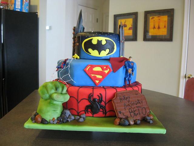superheroes, Hulk, Spiderman, Superman, Batman, cake, fondant  Flickr ...