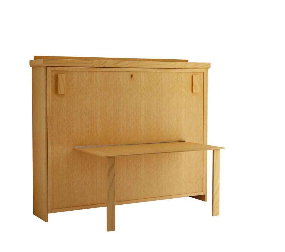 Elsa horizontal murphy bed oak honey the drop table on for Table th horizontal