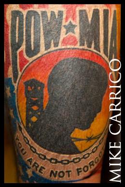 Pow mia done by mie carrico at bad dog tattoo orlando flor for Pow mia tattoo