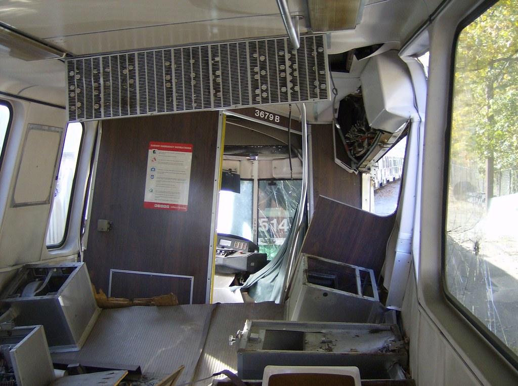 Mbta Green Line Kinki Sharyo Type 7 Lrv 3679b Wrecked Inte