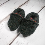 Black Wool soft sole shoe 0-6 months 4.25""