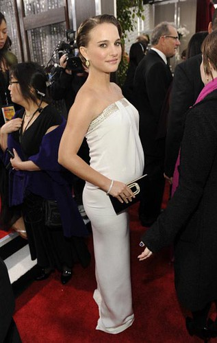 Five-Months-Pregnant Natalie Portman in a White Azzaro Dress at the ...