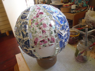Mosaic foam ball for stand | by Poppins Mosaics and Crafts