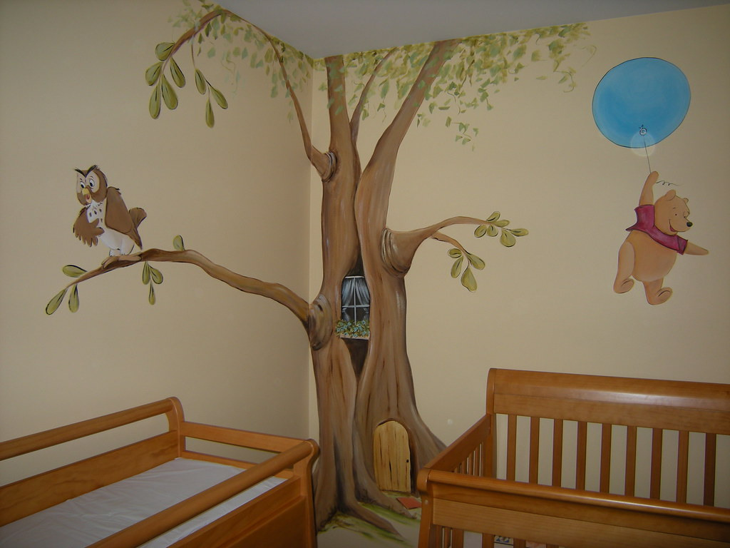 Winnie the pooh baby nursery mural welcome to my flickr for Baby room wall decoration