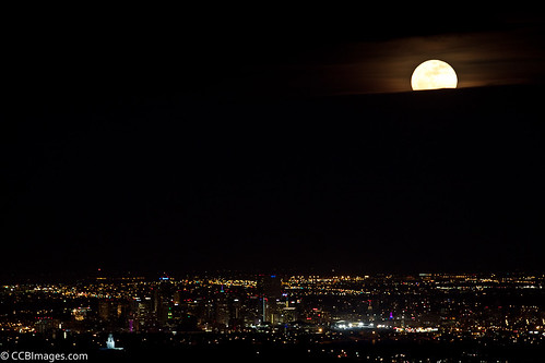 Super Moon rising over downtown Denver | by CCBImages