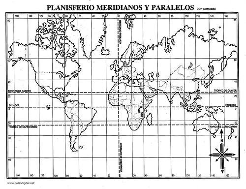 Planisferio Con Division Politica Con Nombres Y Coordenadas