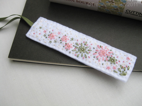 Hand Embroidered Felt Flower Bed Bookmark This Handmade