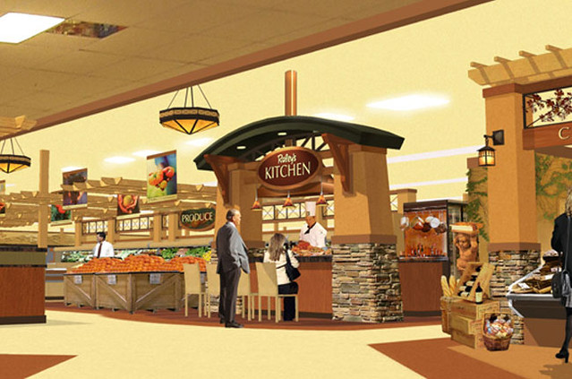 Interior market rendering grocery store design for Kitchen remodel yuba city ca