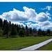 Path Through the Park, Blue Skies, Cloudy
