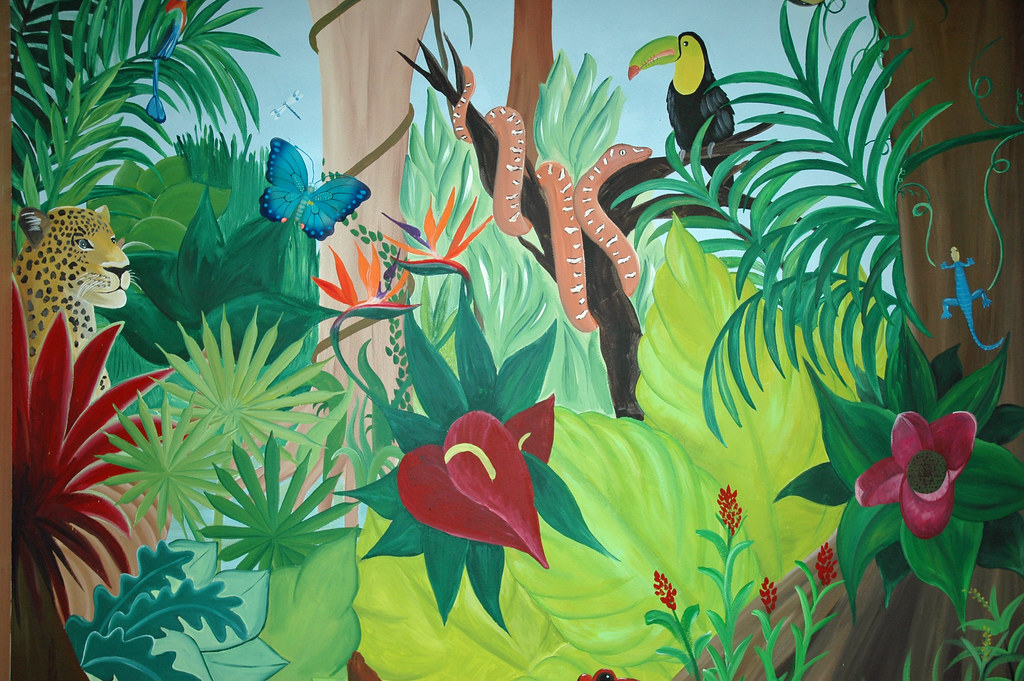 rainforest painting mural images forest wall murals for a serene home decor adorable home