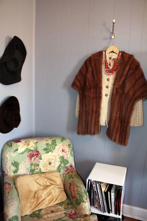 bedroom upholstered chair vintage fur cape michelle