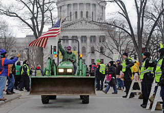 Farmers circle the Capitol on their tractors--TRACTORCADE! | by Jessie Reeder