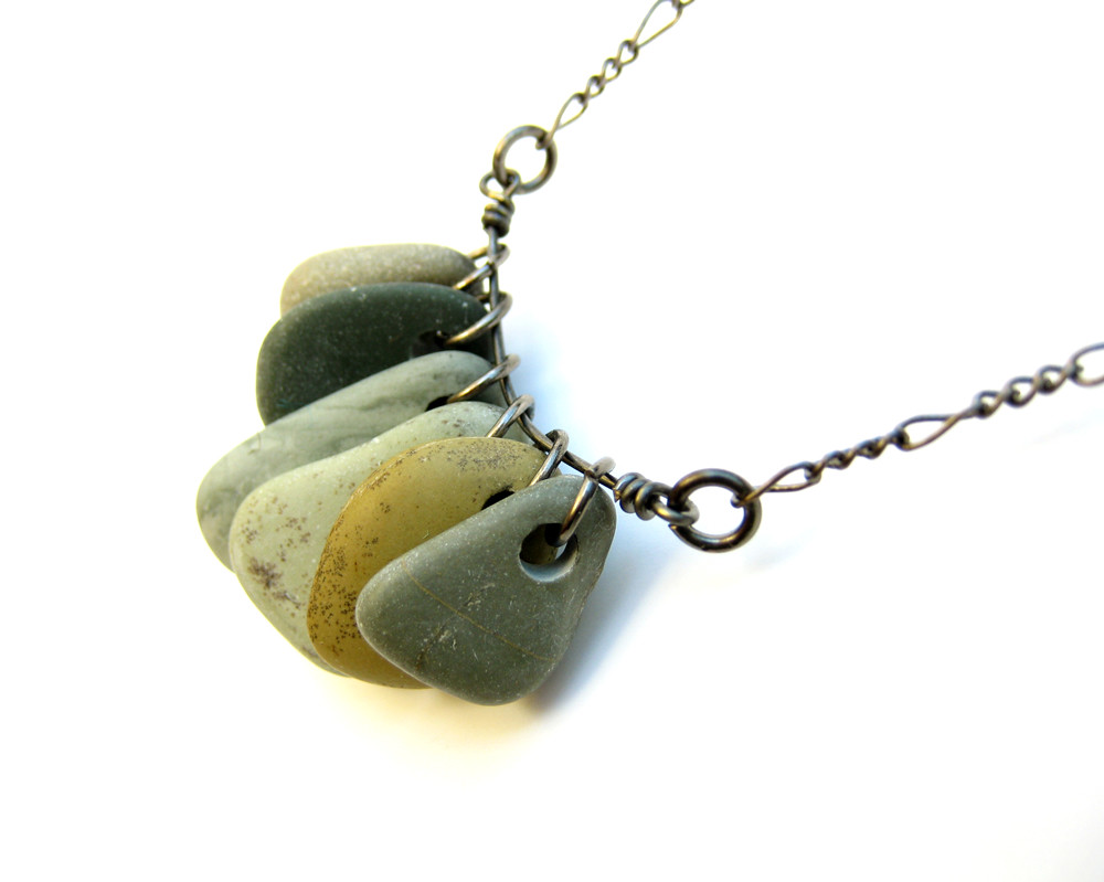 Marble Stone Jewelry : Green tea natural stone necklace a pendant