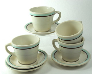 Shenango aqua & brown cups-saucers | by LilacApple