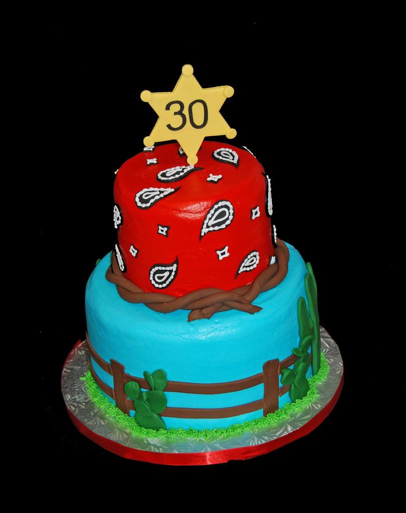 Swell 30Th Birthday Western Themed Birthday Cake With Desert Sce Flickr Funny Birthday Cards Online Alyptdamsfinfo