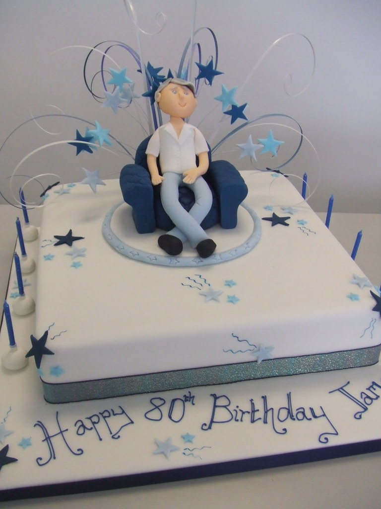 Cake Designs For 70 Year Old Man : CAKE - 80th birthday cake by Jules 12 inch square ...
