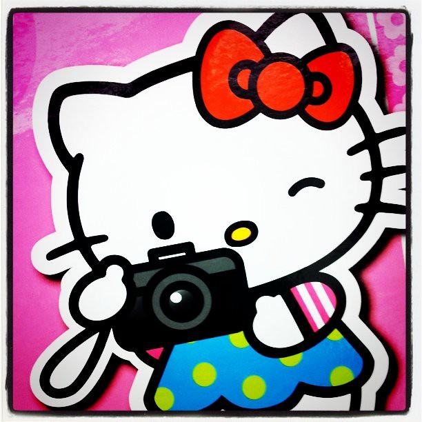 hello kitty with camera - dont forget yours at the comicons