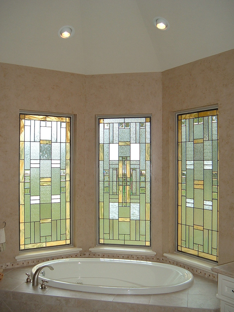Modern Stained Glass Bathroom Windows Gold Amp White Flickr