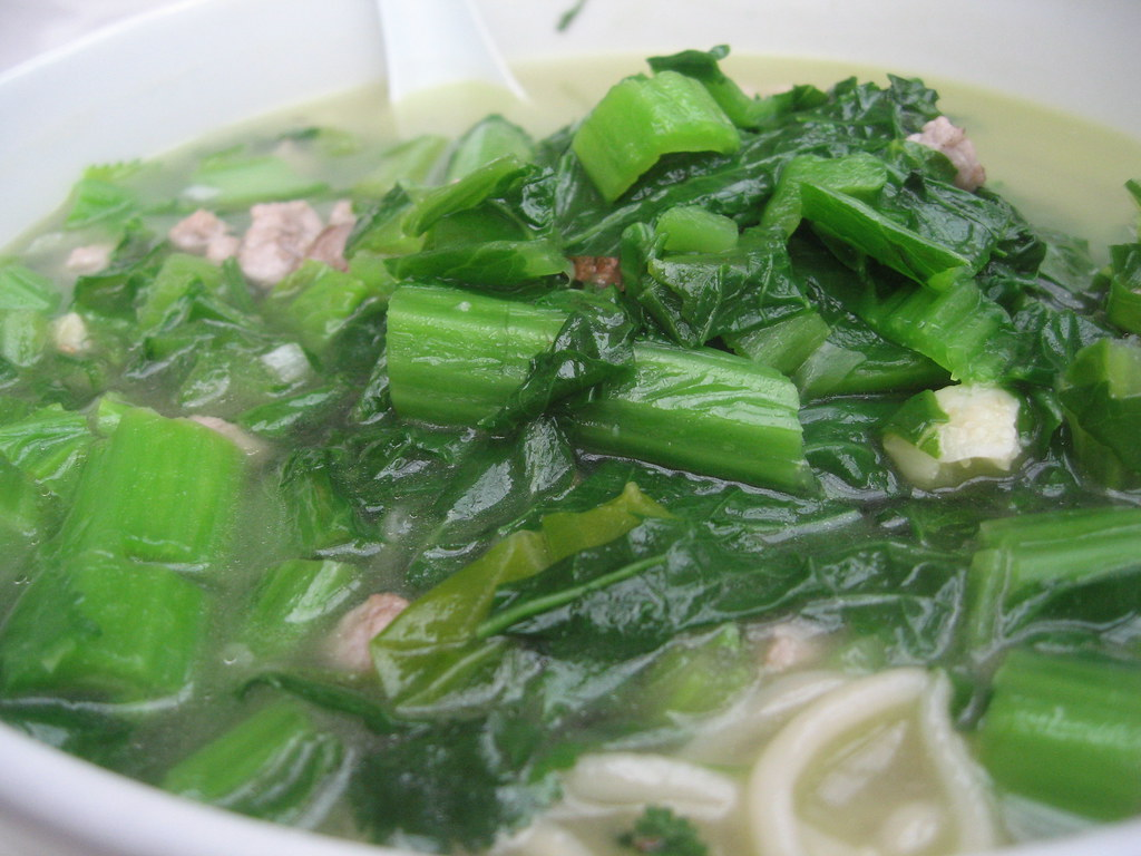 Pork and Mustard Green Soup | A hearty soup of hand-pulled n ...