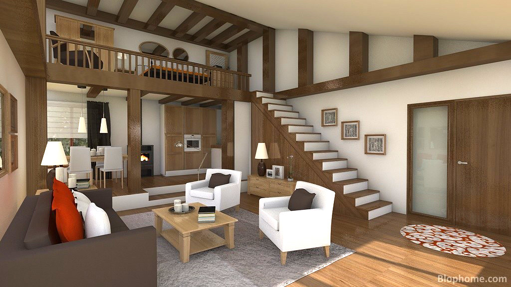 Lofts modernos loft dise ado con la herramienta de for Software decoracion interiores 3d gratis
