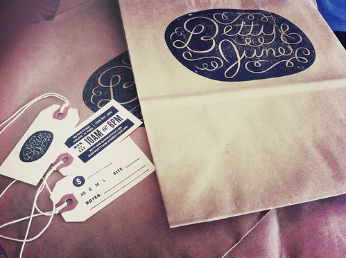 Betty & June bag, tag, and business card | by ryan feerer