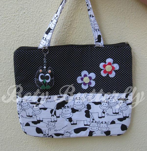 Bolsa De Tecido Para Notebook : Bolsa de tecido para notebook estampa vaquinhas e com chav