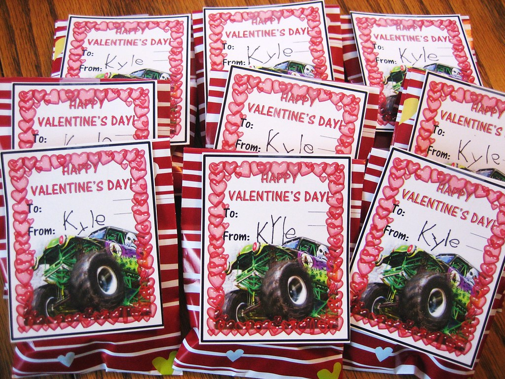 Monster Truck Valentines Custom Valentines Day Cards and – Monster Valentine Cards