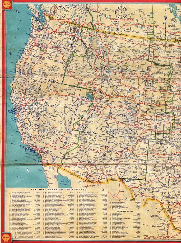 Shell Road Map This Western United States Highway Map Flickr - Map of the western us states