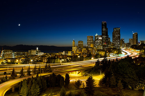 Moon Over Seattle Downtown Skyline | by David Gn Photography