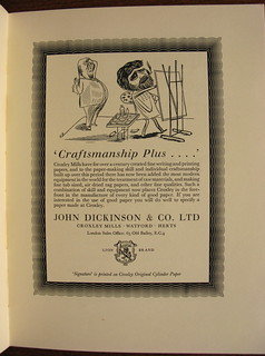 """Craftsmanship Plus"" - advert for John Dickinson, papermakers, Croxley, Watford - illustrated by Edward Bawden - 1936 