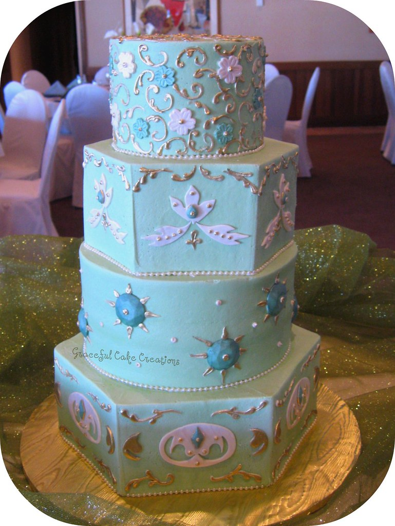 green and gold wedding cakes green gold and ivory wedding cake grace tari 14957