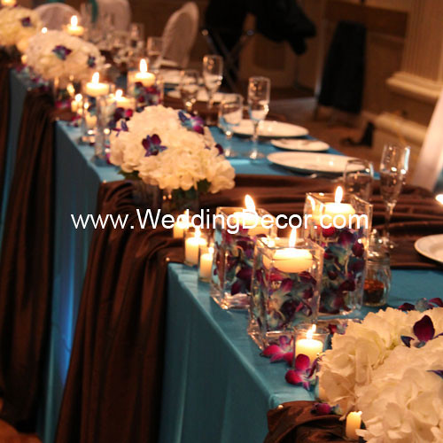 Wedding Head Table Flowers: Head Table Decorations - Turquoise & Brown