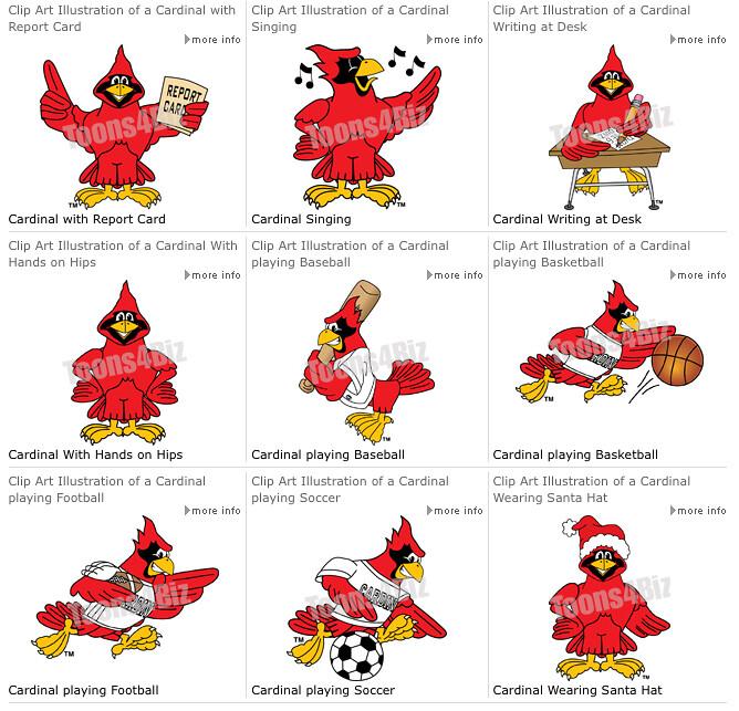 cartoon cardinal school mascot clip art