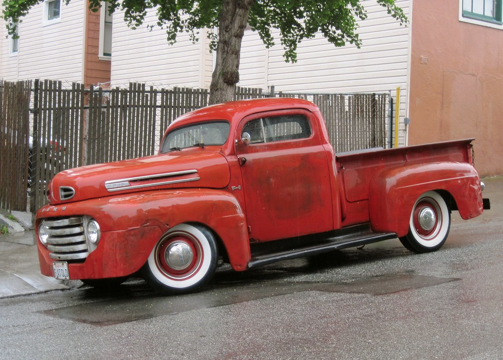 Flat Old Plate 3 1950 Ford Pickup Truck Chopped Top San