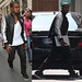 Kanye West in Balmain Silver Sleeve Teddy Jacket and Air Yeezy 2 Sneakers