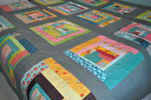 naked bed challenge, finished quilt top | by vickivictoria