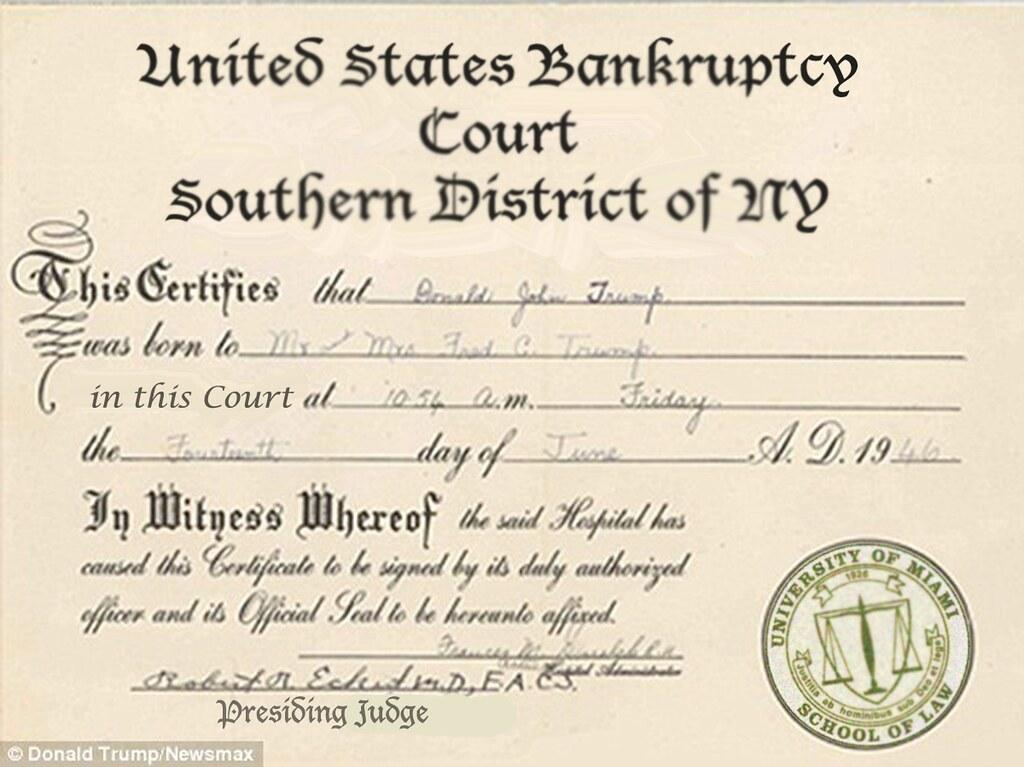 DONALD TRUMP'S BIRTH CERTIFICATE | WilliamBanzai7/Colonel Flick ...