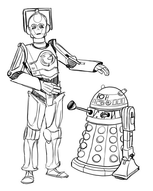 c3po coloring page - cyberman c3po dalek r2d2 sketch flickr photo sharing