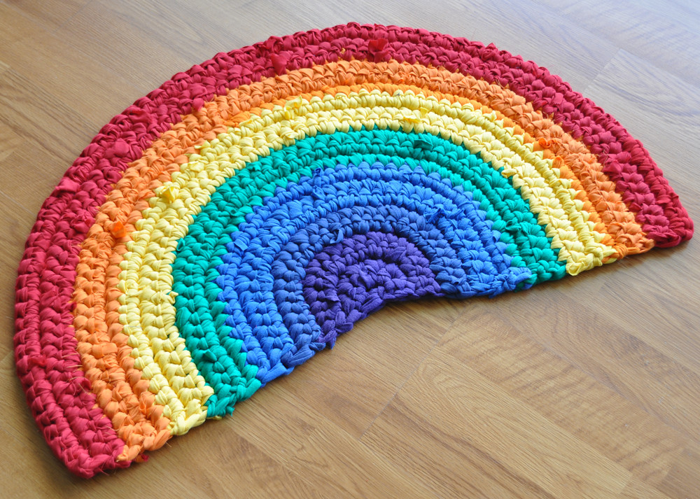 Rainbow Crochet Rug I Crocheted This Rug With Yarn I